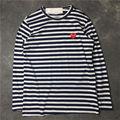 La moda de primavera de color sólido bordado corazón rayado marina de guerra de lunares camisa de rayas mujeres de manga larga de los hombres juego camiseta top