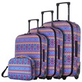 "DAVIDJONES Lightweight Vintage Print 4 Piece Luggage Set 20"" 24"" 28"" WomenTravel Bags Suitcase With Wheel Oxford canves case"