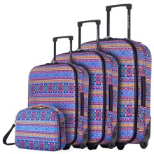 DAVIDJONES Lightweight Vintage Print 4 Piece Luggage Set 20″ 24″ 28″ WomenTravel Bags Suitcase With Wheel Oxford canves case