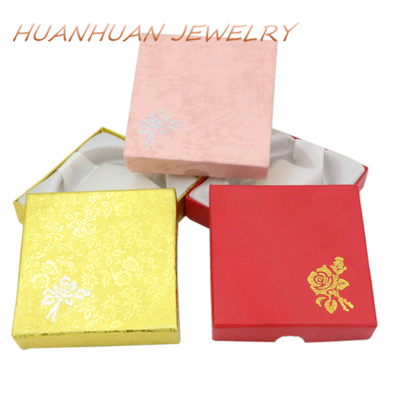 Storage Square Shape Paper Casket Jewelry Box Wedding Party Gift Earrings Ring Necklace Beads Case Jewellry Boxes Supplies B3446