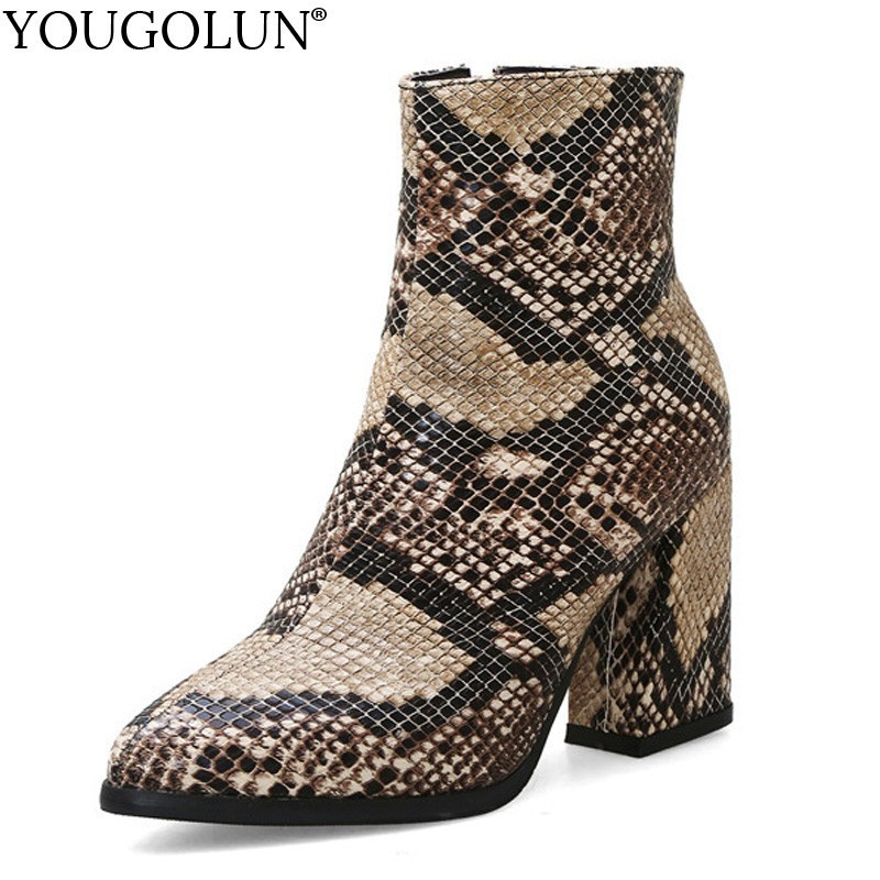 Snake Ankle Boots Women Autumn Winter Lady High Heels A275 Fashion Woman Gold Silver Brown Red Buckle Zipper Pointed Toe Shoes-in Ankle Boots from Shoes