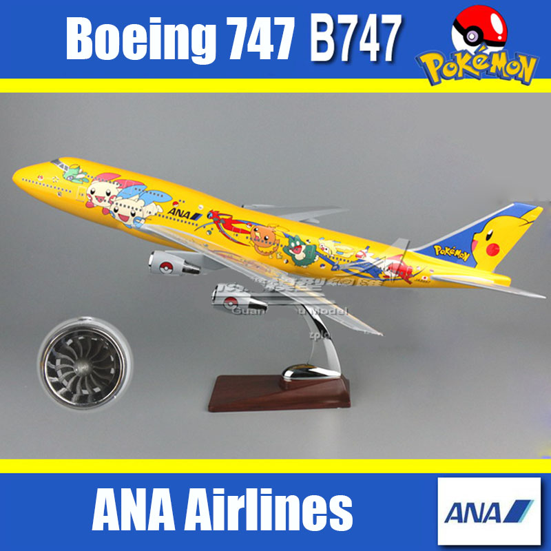 47cm All Nippon Air ANA Resin Airplane model Boeing 747 Pocket Monster model PokemonGO aircraft model Pikachu B747 Plane model 1 400 ana b727 200 ana ja8355 aircraft model hogan