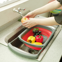Folding Fruit Vegetable Washing Basket Strainer Colander Collapsible Drain Vegatable With Handle Kitchen
