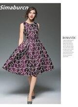 European 2017 New Design Elegant Women Spring Printing Dress O-Neck Casual Sleeveless knee-Length Ladies  Dresses Fashion Brand