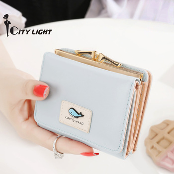 Fashion  Women wallet small three fold PU leather coin wallet mini size women purse brand designed female coin purse wallet