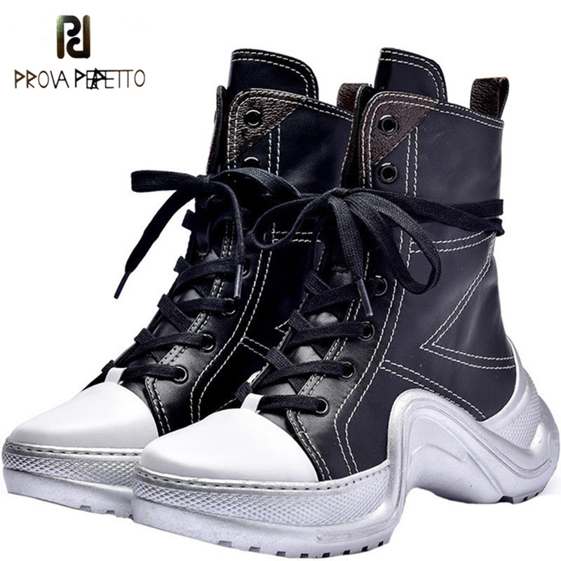 Prova Perfetto 2018 Women Lace Up High Tops Sneaker Boots Platform Creppers Travel Shoes Woman Flat Thick Sole Ankle Botas Mujer prova perfetto yellow women mid calf boots fashion rivets studded riding boots lace up flat shoes woman platform botas militares