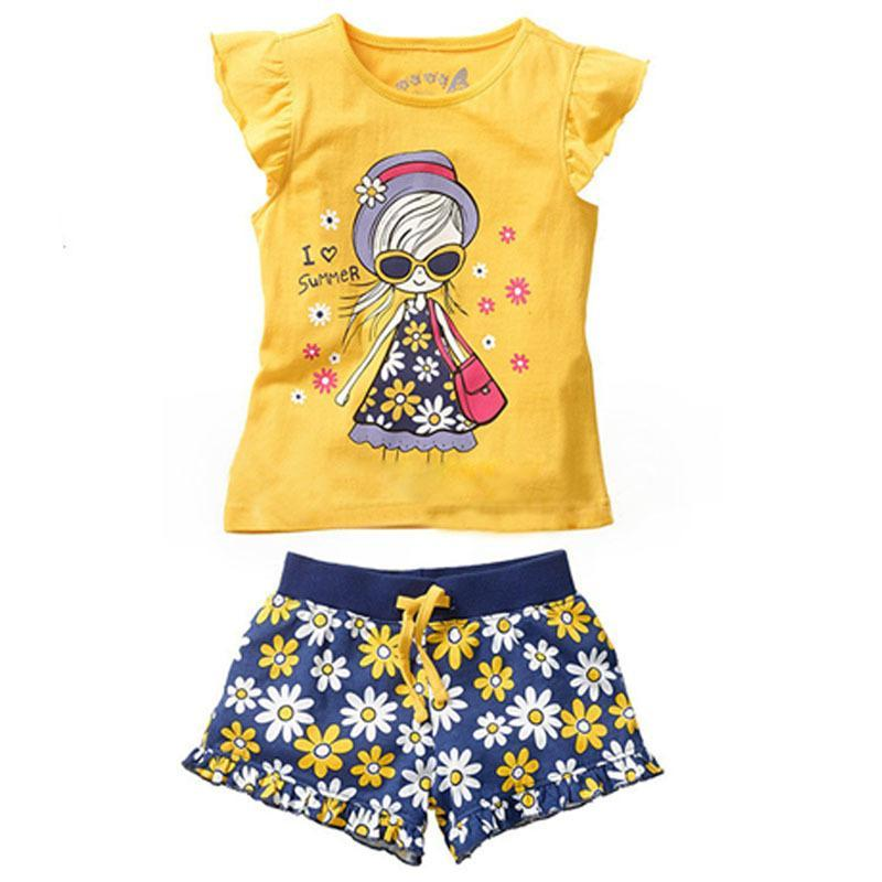 Girls Summer Casual Clothes Set Children Short Sleeve Cartoon T-shirt + Short Pants Sport Suits Hot Girl Clothing Sets for Kids