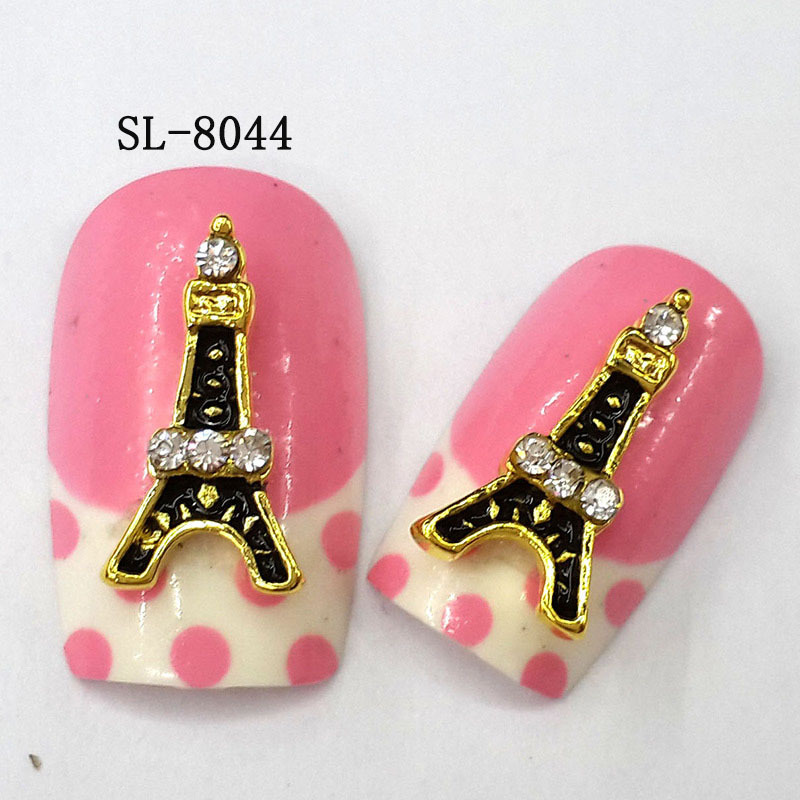 10pcs 3d Handmade Nail Art Korean Eiffel Tower Designs Crystal Sl