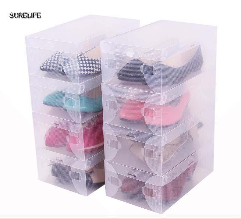 Dutiful 10pcs Children/women/men Transparent Makeup Organizer Clear Plastic Shoes Storage Boxes Foldable Shoes Case Holder Wholesale Shoe Racks & Organizers
