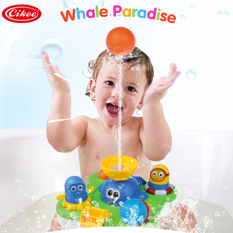 Whale Fountain Spraying Water Wheel Popping Ball Baby Bath Toys Bathroom Toy Dancing Minions Toy Swimming Pool Bathing Toys Kids