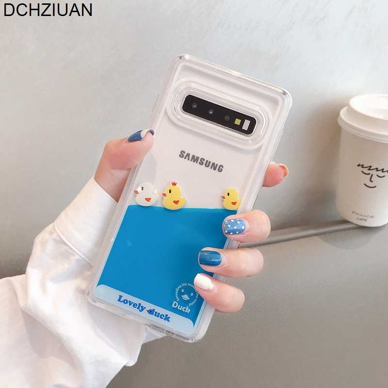 DCHZIUAN Phone Case For Samsung Galaxy S10 Plus S10E S8 S9 Plus Lovely Duck Liquid Case Cute Soft Silicone Clear Back Cover