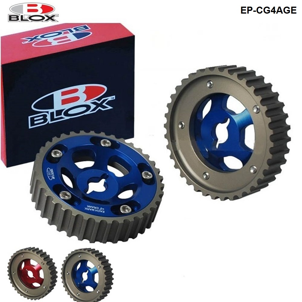 Blox 2pcs Slide Adjustable Cam Gear Pulley Cam Pulley Set For Toyota All Models 84-89 4AGE Inlet And Exhaust EP-CG4AGE
