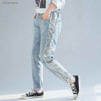 532f78801247 Светло-синие джинсы с блестками женская мода 2019 Лето бойфренд уличная для  женщин, ...