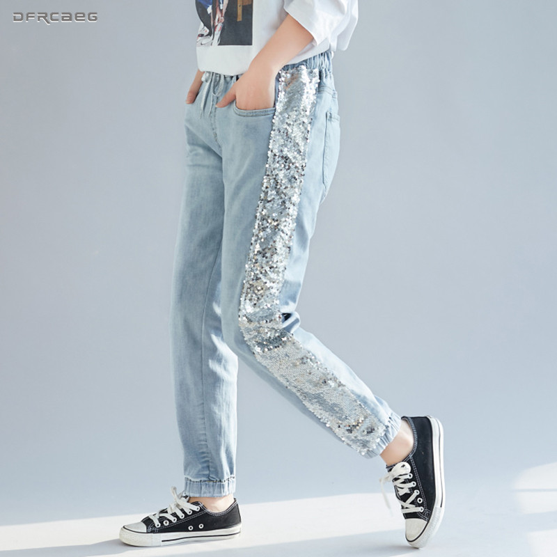 Light Blue Sequins Jeans Womens Fashion 2019 Summer Boyfriend Streetwear Elastic Waist Ladies Jeans Denim Harem Pants Female