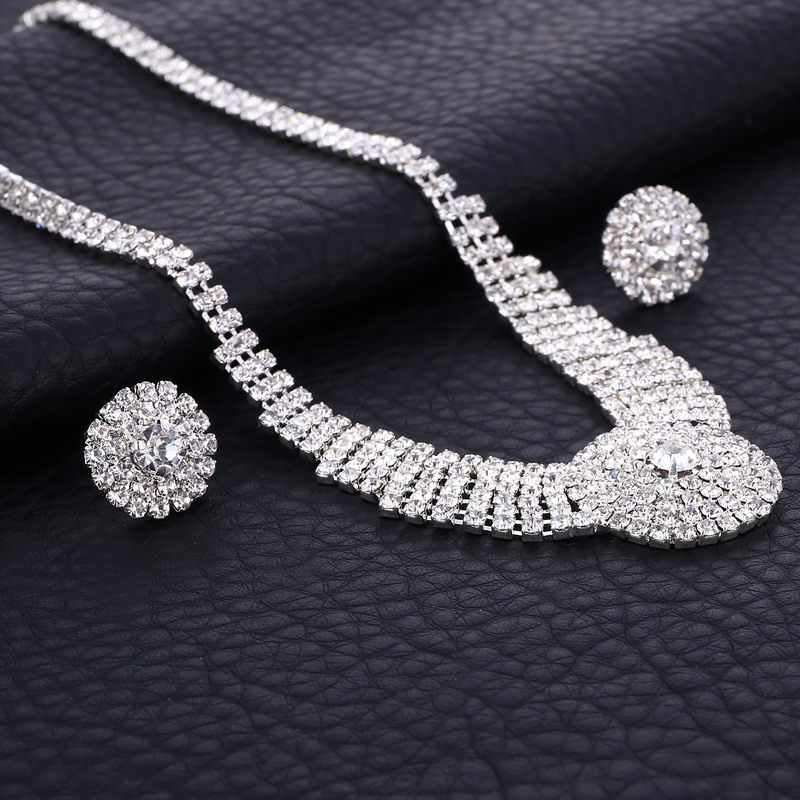 Diamante Crystal Rhinestone Bridal Jewelry Sets Silver Round Chocker Necklace Earrings Wedding Jewelry Sets Accessories