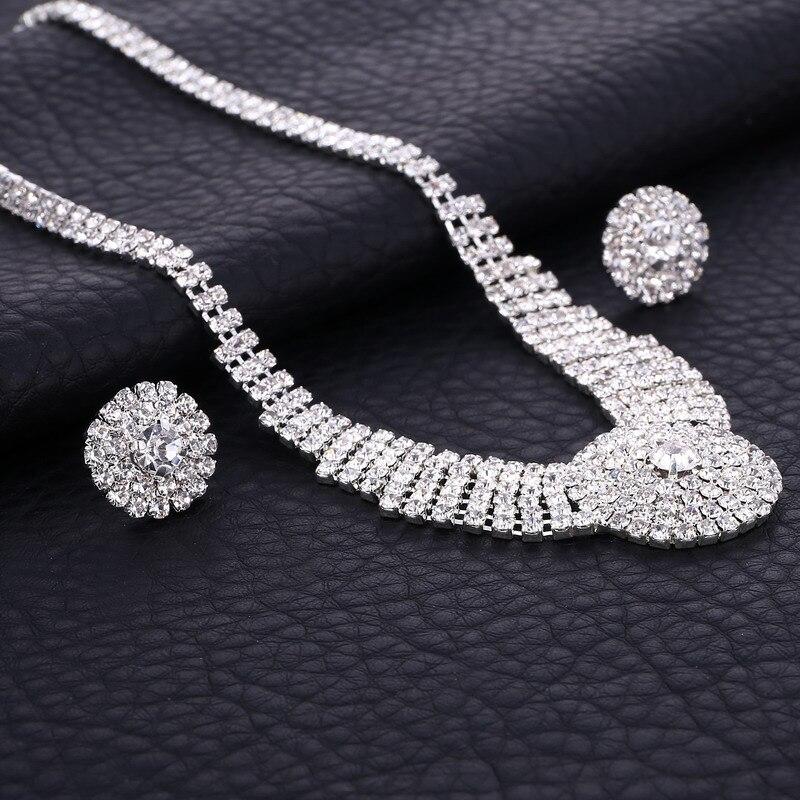 Women Full Bling Rhinestone Crystal Necklace Earrings Set Charm Wedding Bridal Jewelry Set 2016 charms jewelry
