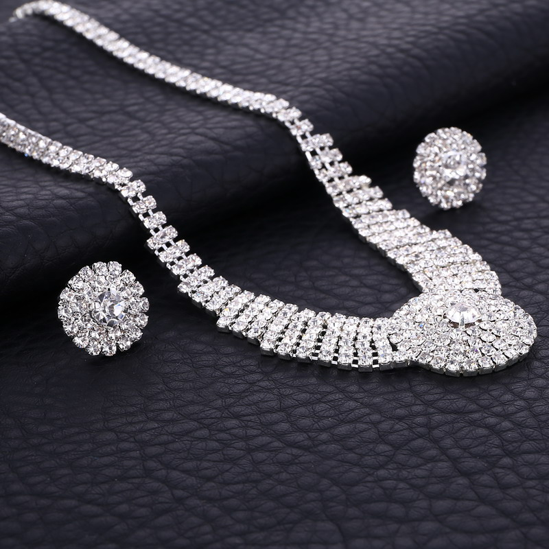 197f987790 Diamante Crystal Rhinestone Bridal Jewelry Sets Silver Round Chocker  Necklace Earrings Wedding Jewelry Sets Accessories