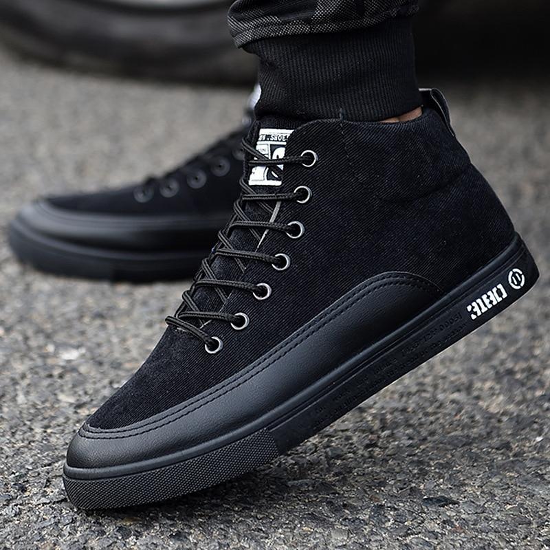 Зимняя мужская обувь с высоким берцем, Черные Ботинки martin, Мужская модная обувь для студентов в винтажном стиле, обувь для скейтборда, корей...