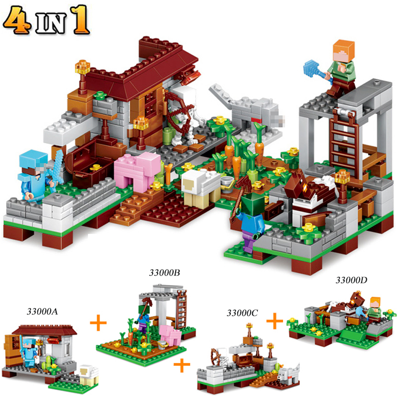 390pcs 4in1 Minecrafted Action Figures Steve Farm Village Compatible Building Blocks Brick Enlighten Kids Toys Gifts #E funlock duplo blocks toys farm animal figures bunny cat dog cow pony pig sheep rooster educational toys for kids gifts