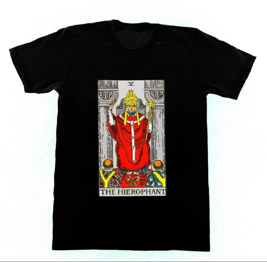The Hierophant T12 Tshirt Ryder Tarot Card Fortune Telling Occult Witchcraft 2018 O Neck Broadcloth Short High Quality Funny
