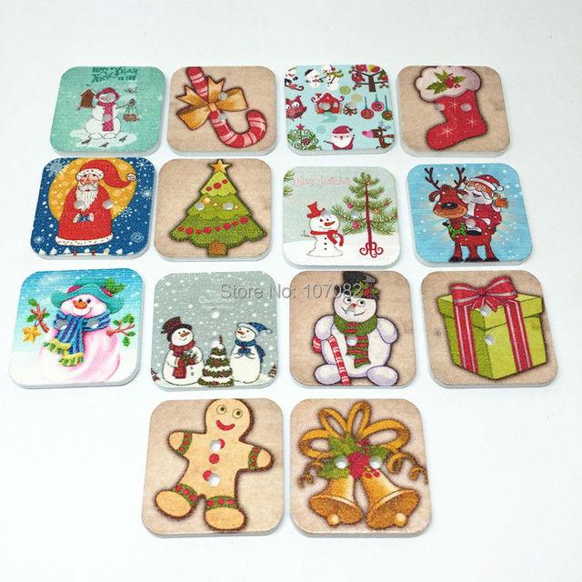 300pcs 25mm christmas buttons square shaped 2 hole embellishments for scrapbooking cardmaking santa snowman reindeer - Santa Snowman 2