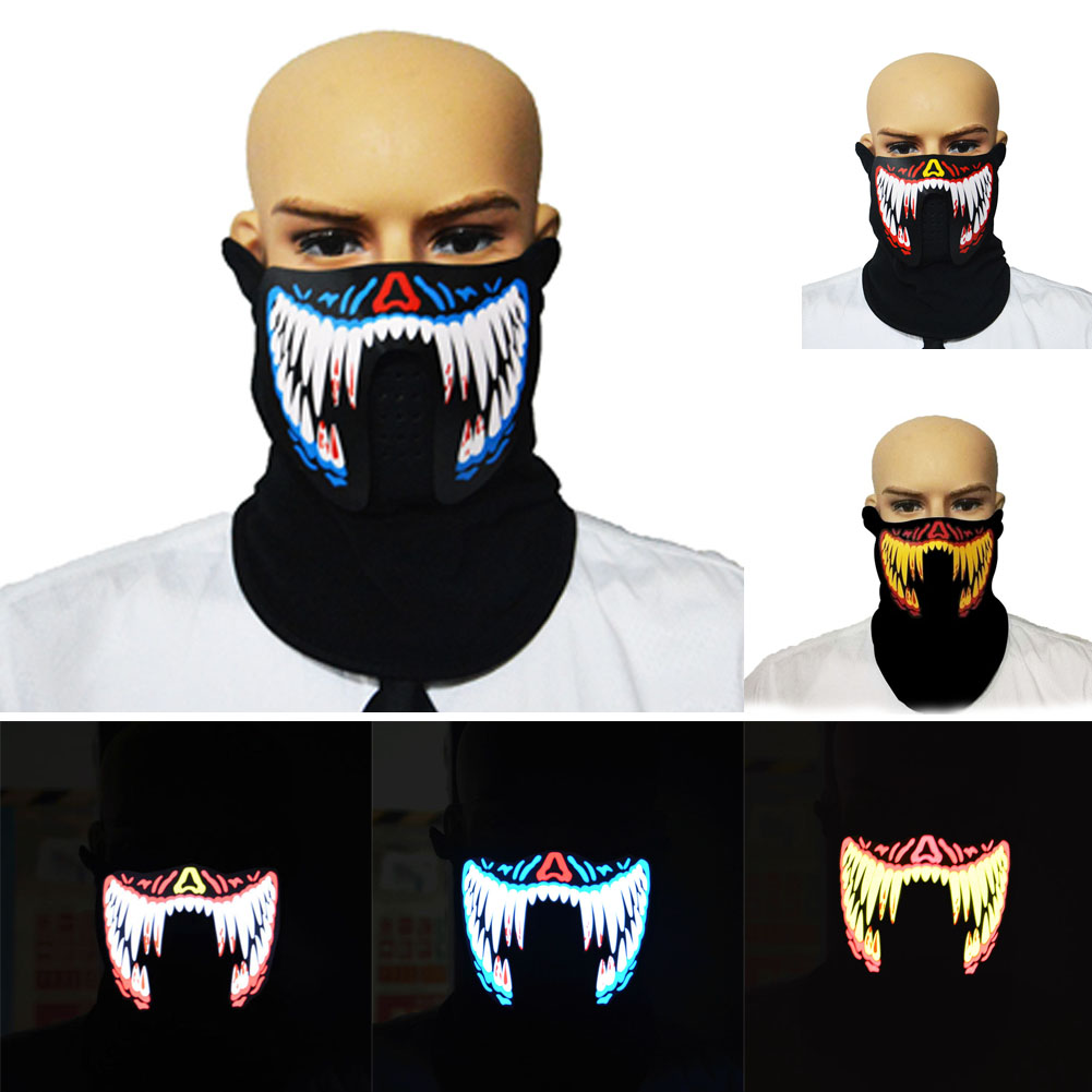 LED Luminous Flashing Face Mask Light Up Dance Party Halloween Cosplay Masks YH-17