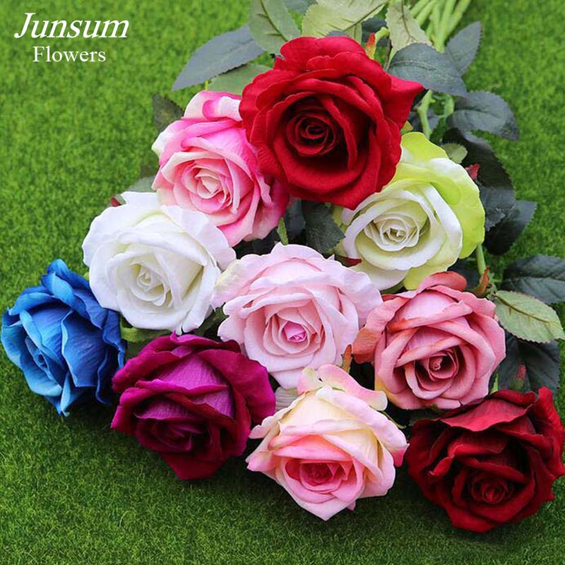 Fahion Velvet Rose Floral Bouquet Fake Flower Arrange Table Daisy Wedding Flowers Decor Party accessory Flores 11pcs/lot