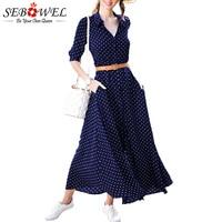 2018 Summer Women Polka Dot Boho Beach Dress Plus Size Female Casual Long Maxi Party Dress SEBOWEL Navy Blue Button Shirt Dress