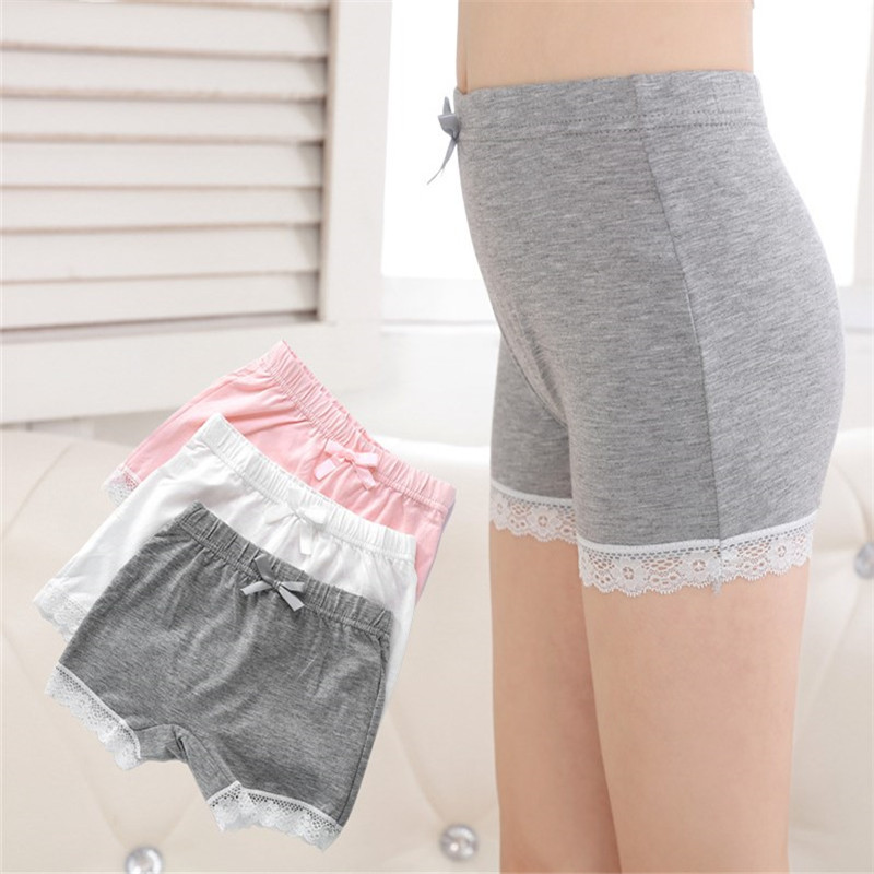 Summer Girl Safety Pants Underwear Lace Soft Cotton Plain Color Design Lingerie Comfortable   Panties   Briefs Girl Shorts for Dress