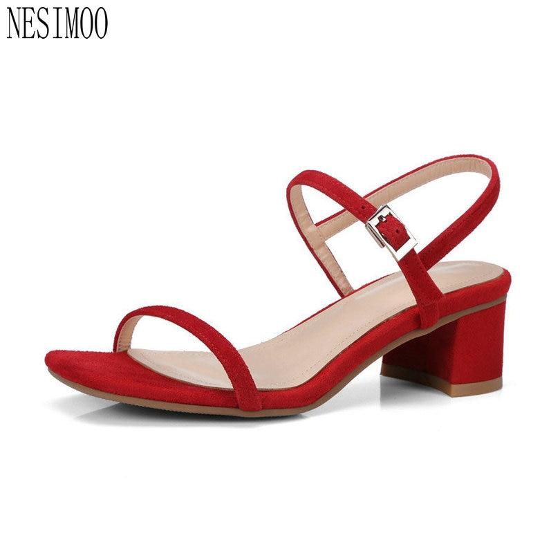 65ba5230c NESIMOO 2018 Western Style Women Sandals Shoes Woman Peep Toe Square High  Heel Flock Platform Ladies