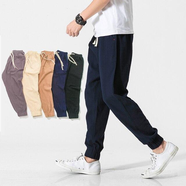 Uni Et Ample Cordon Couleur Coton Décontracté Lin Pantalon Hommes HDIWE29Y