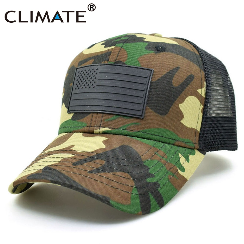CLIMATE New Men Youth Summer Cool Camouflage Army Mesh Caps Fishing Hunting Adult Adjustable Bucket Trucker Baseball Caps Hat retro army style camouflage baseball caps half mesh jungle desert camo adjustable hat