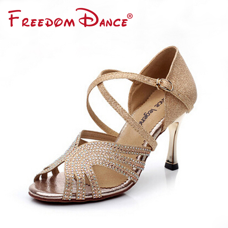 Bling Rhinestones Leather Fabric Womens Dancesport Shoe 3.45 High Heeled Latin Ballroom Tango Salsa Dance Shoe Lady Sandals