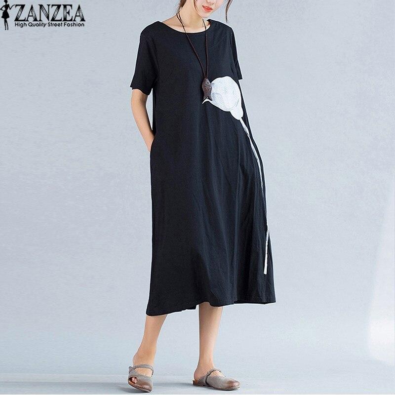 2018 ZANZEA Womens Round Neck Short Sleeve Floral Print Side Pockets Split Loose Kaftan Summer Beach Dress Vestido Plus Size