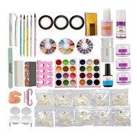 Anmas Rucci DIY Full Nail Art Set Acrylic Glitter Powder Primer Tips Brush Glue Dust Kits 13 False Nail Practice Set