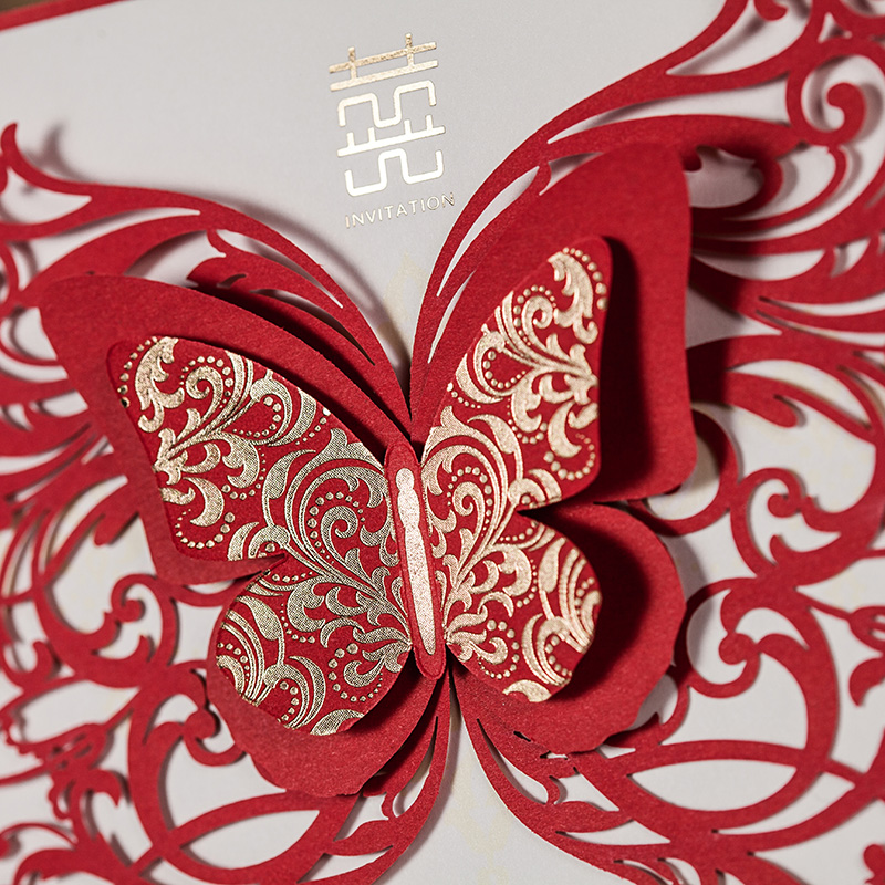 Wedding Invitation Cards,Chinese Red 3D Butterfly Wedding Cards ...