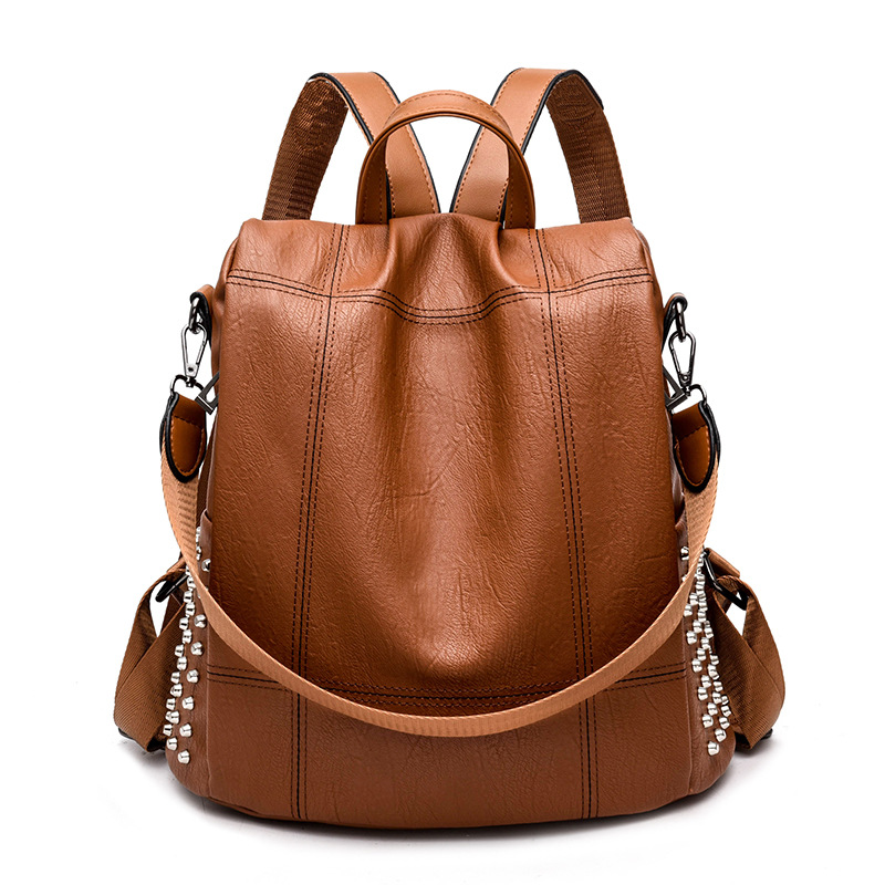 Vintage Leather Backpack Women Anti Theft Female Shoulder Bag Travel Back Pack Multifunctional Backpack