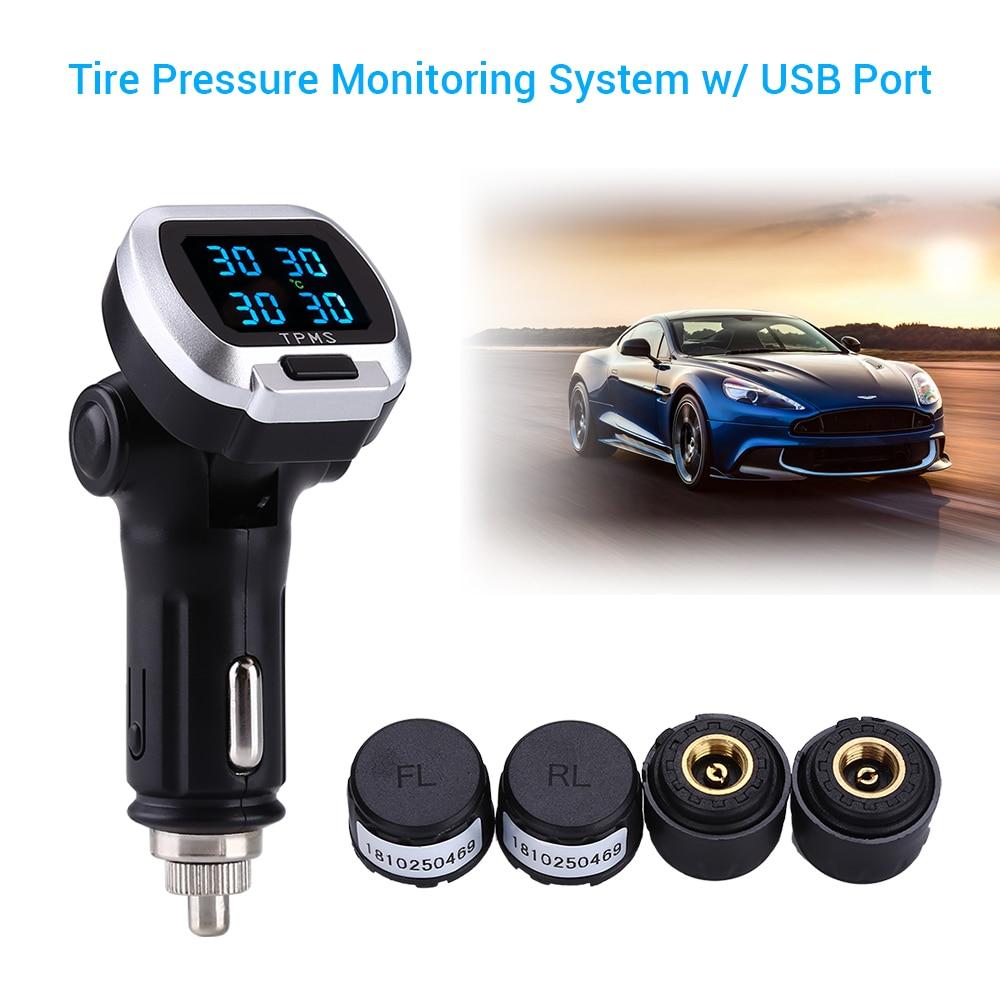 Tire pressure alarm monitoring system TPMS 12V Digital Tire Pressure Alarm External Sensor with USB port