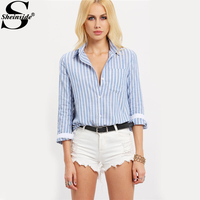 Sheinside Lapel Vertical Stripe Blouses Summer Style Casual Woman Shirts New Arrival Ladies Blue White Long