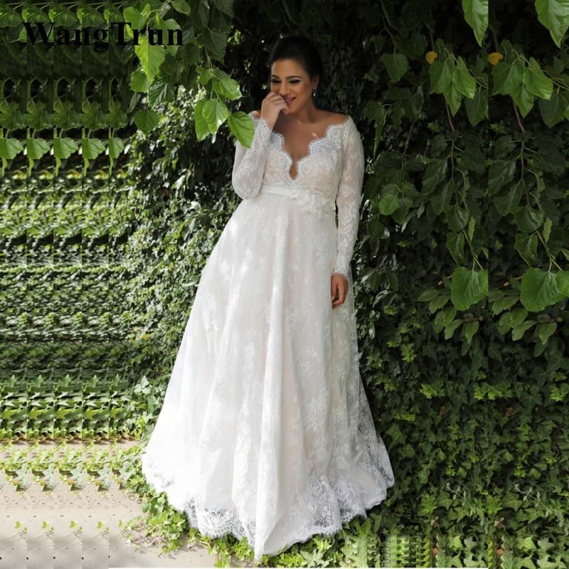 Plus Size Empire Waist Wedding Dress: 2019 New Lace Plus Size Wedding Dresses Long Sleeves Sheer