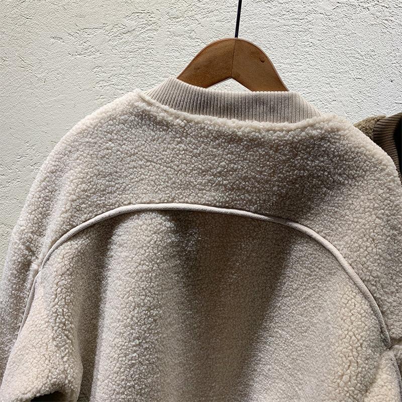 Casual Femme Épais D'agneau Hiver Beige Chaud Vestes Flocage Lâche Outerwears Femmes Chameau 2018 Cou marron Fourrure Manteaux Parkas O RcyO7KWB
