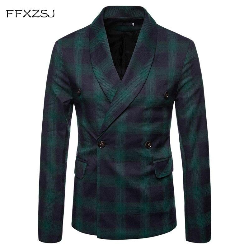 FFXZSJ mode hommes Blazer costume décontracté Slim Fit costume veste hommes d'affaires automne décontracté vert col double boutonnage costume