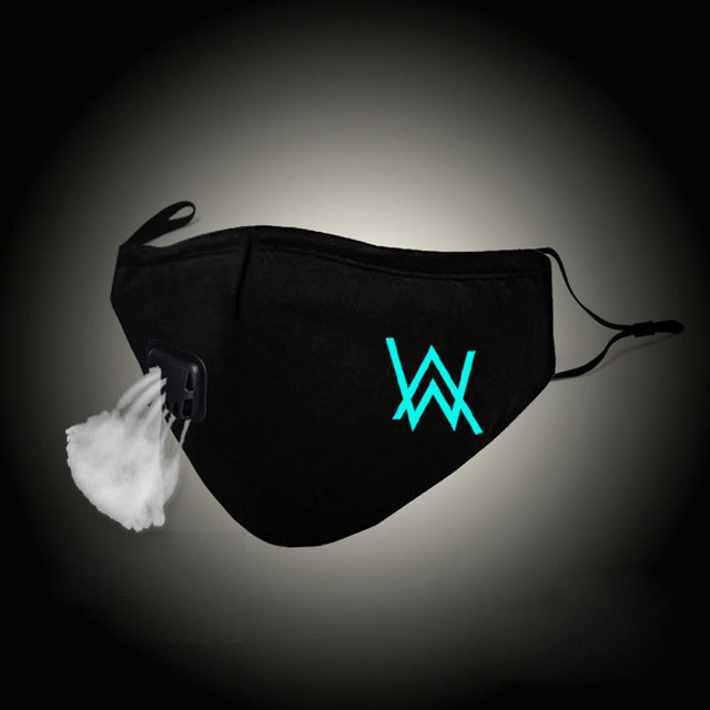 Glow In Dark Fashion Mouth Mask Alan Walker Faded Cotton Face Mask Anti PM2.5 Dust Filter Winter Warm Muffle Valved Respirator