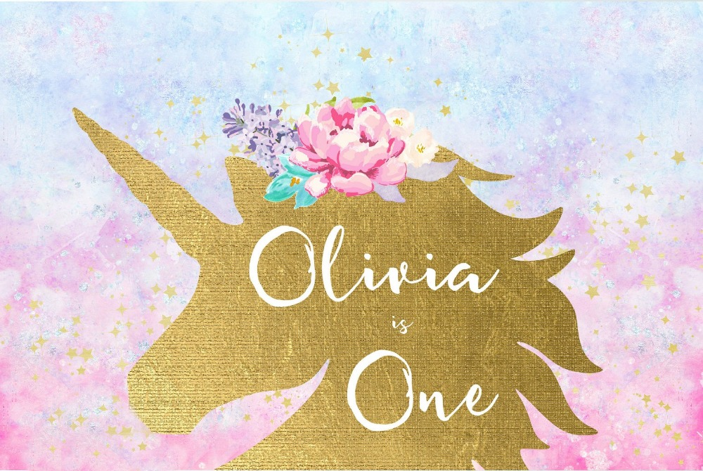 custom unicorn birthday flower colorful clouds background  High quality Computer print party photo backdrop|Background| |  - title=
