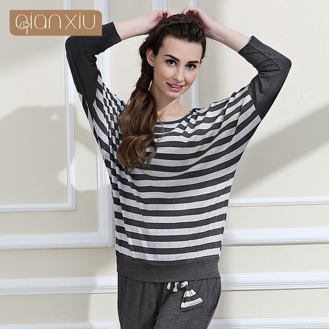 e4d9eea91e7 2016 Real Onesie Panda Qianxiu women s Pajamas Spring autumn Hot Sale Modal  Classic Stripes Women Long-sleeve Pants Pajama Set