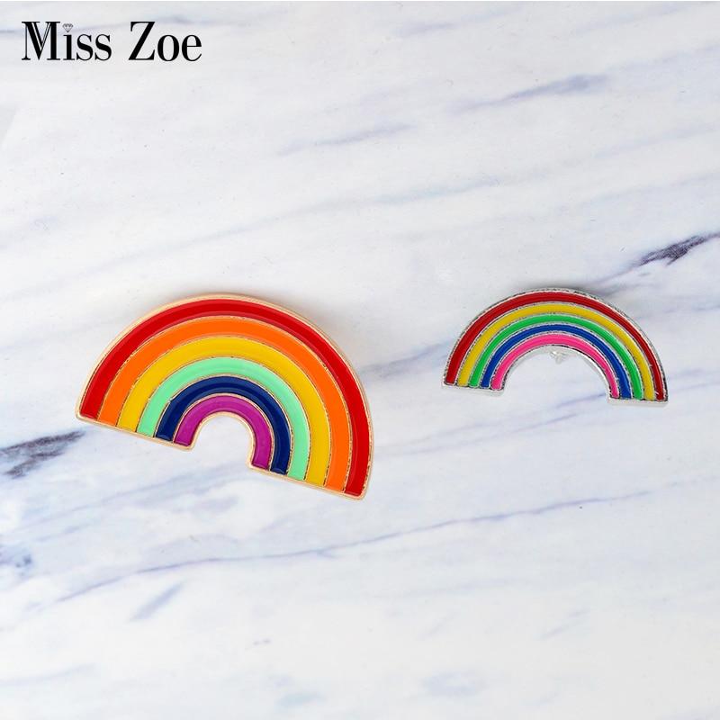 Cartoon big small rainbow Brooch DIY collocation Denim Jacket Pin Buckle Shirt Badge Fashion Birthday Gift For Friends kids(China)