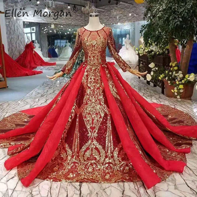 Vintage Saudi Arabia Burgurday Wedding Dresses 2019 New Luxury Gold Lace Beads Elegant Long Sleeve Muslim