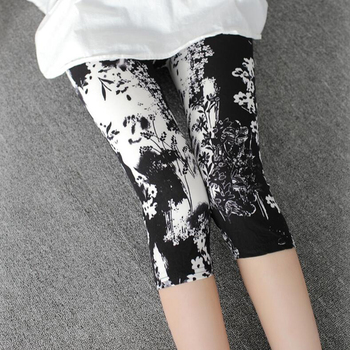 CUHAKCI Printing Pants Women High Quality Capris High Waisted Floral Lady's Fitness Leggings Seventh Elastic Slim Short Leggings active contrast color camo print elastic waisted leggings