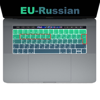 Russian Keyboard cover case  Protector film for New Macbook Pro 13 15 With touch bar Model A1706/A1989 A1707 A2159 A1990 EU hrh rainbow eu spanish silicone keyboard protective film for mac pro 13 15 a1706 a1707 a1989 a1990 a2159 with touch bar