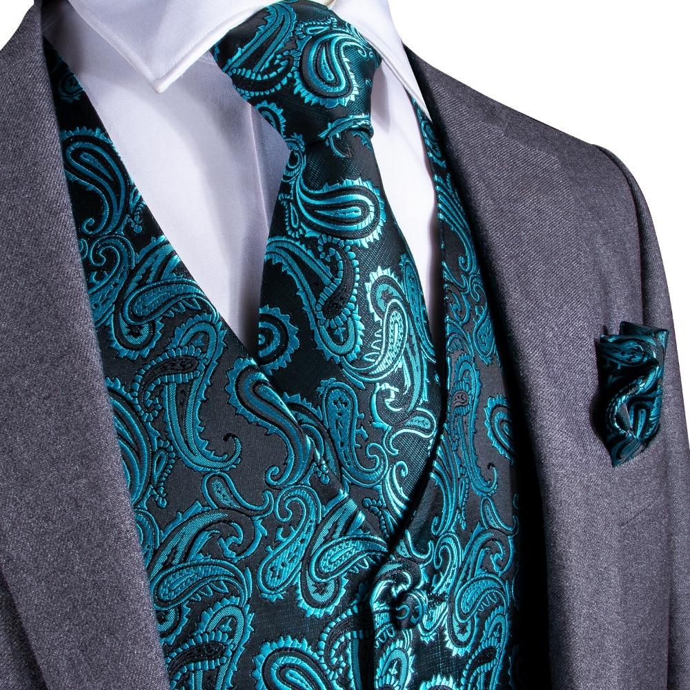 DiBanGu Teal Green Paisley Fashion Wedding Men 100%Silk Waistcoat Vest Ties Hanky Cufflinks Cravat Set For Suit Tuxedo MJTZ-107